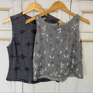 Vintage PAPELL pair silk beaded floral gray tops